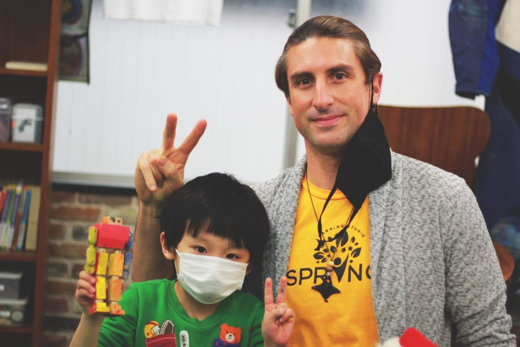 Dan with Kousuke during the Robot Painting Event